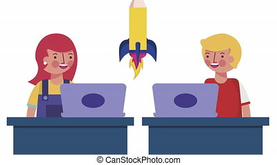 little students couple with laptops elearning animation -...