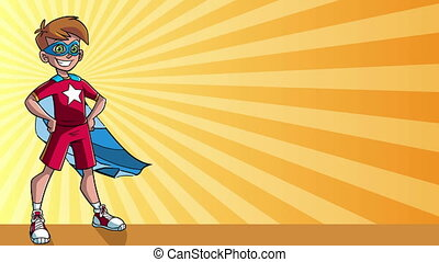 Little Super Boy Ray Light Background - Seamless looping...