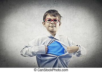 little super hero - baby opens his shirt and shows shirt...