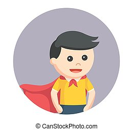 little super hero boy in circle background