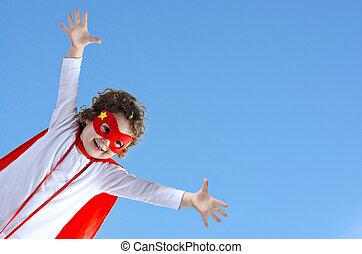 Little superhero child girl flies in air