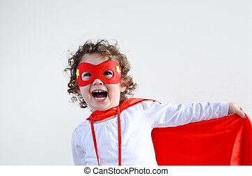 Little superhero child girl