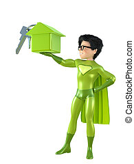 Little superhero posing - 3d man - brave superhero. Isolated...