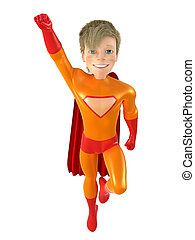 Little superhero posing - 3d man - brave superhero ....