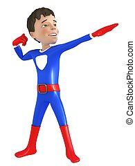 Little superhero posing - 3d man - brave superhero with red...