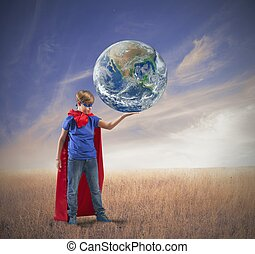 Little superhero save the world - Concept of save the world...