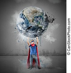 Little superhero saves the world. Earth provided by NASA