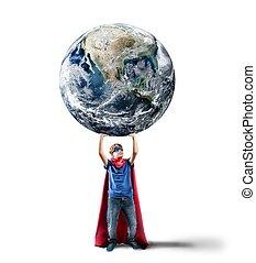 Little superhero saves the world