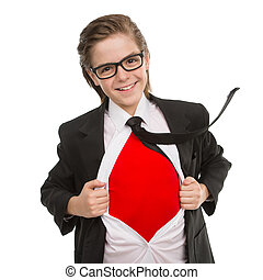 Little superman. Cheerful little boy in formalwear showing his red T-shirt under the shirt while standing isolated on white