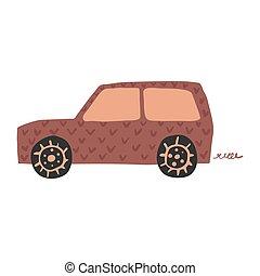 Little suv car in doodle style. Cute children automobile transportation.
