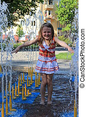 little sympathetic girl in fountains