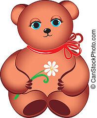 Little teddy bear with flower.