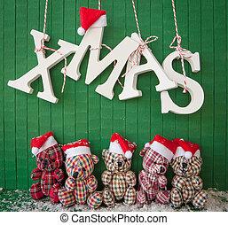 Little teddybears with Santa hats