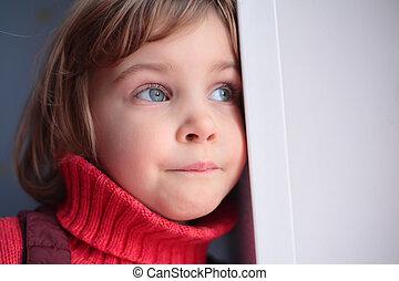little thoughtful girl