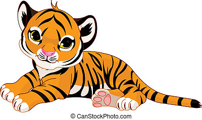 Little tiger cub resting - Image of little tiger cub resting...