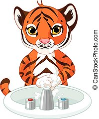 Little Tiger Washing Hands - Illustration of little tiger...