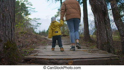 Little toddler is walking hand in hand with his mother in a park at sunset. Mother with a boy go on a wooden road bridge to the river lake in the forest. 2 year old boy walks with mother in the woods