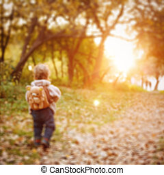 Little toddler walking in the park at the sunset