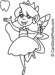 Line art illustration of happy little tooth fairy, flying on white background.