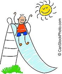 little tot sliding down the slide - toddler art