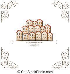 Little town made from old paper with calligraphic elements. Vector card