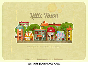 Little Town Retro Background - Little Town. Townhouses in a...