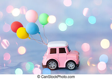 Little toy car with ballons - Little toy car with colorful ...