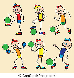 Little toy men playing football.