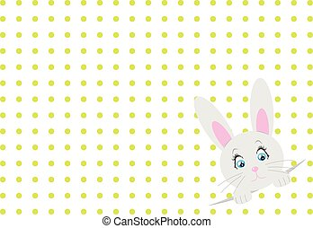 Little toy rabbit on white background with dots. Vector.