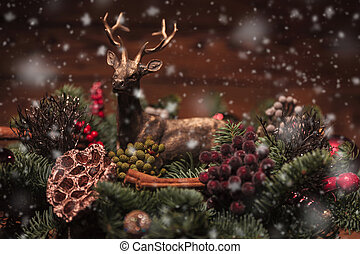 reindeer in a christmas table decoration