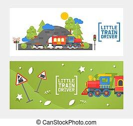 Little train driver, children railway, isolated on white, ...