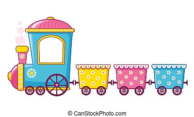 Little train in cartoon style on a white background.