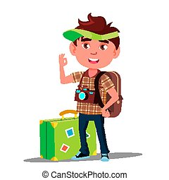Little Traveler Boy With Suitcase, Cap On His Head And Camera On His Chest Vector. Isolated Illustration