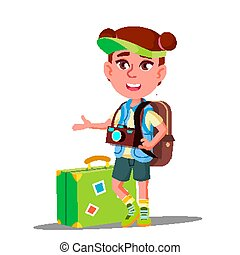 Little Traveler Girl With Suitcase, Cap On His Head And Camera On His Chest Vector. Isolated Illustration