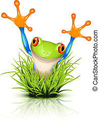 Little tree frog on grass - Little tree frog on reflective ...