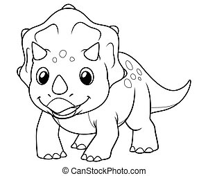 Little Triceratops Cartoon Illustration BW