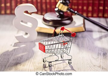 Little trolley - pushcart with the symbols of law