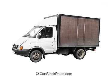 Little truck under the white background