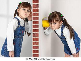 Little twin girls overhears