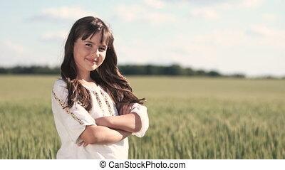 Little Ukrainian in Wheat Field - Ukrainian little girl with...