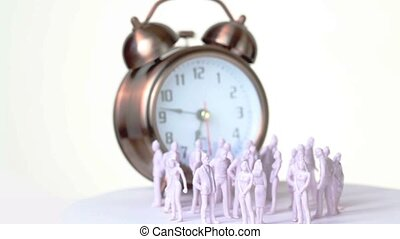 Little uncolored toy men and women stand in front of big clock which ringing