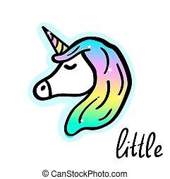 Little unicorn cartoon drawing. Fairy-tale magical creature