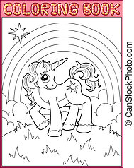 Little unicorn - Coloring book. Little unicorn from fairy...