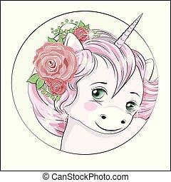 little unicorn in flower