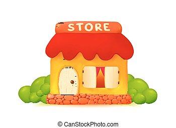 Little vector cute shop icon in cartoon style