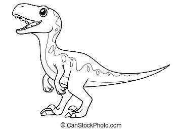 Little Velociraptor Cartoon Illustration BW