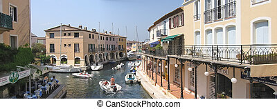 Little venice near Frejus with boats and sea canals, Port Grimmaud, Azur coast, South of  France, Panorama