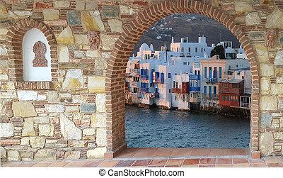 Little Venice view on Mykonos island