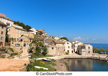 Little village at Cap Corse on French island Corsica