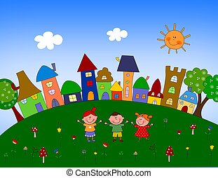 Little village - Cartoon characters. Colorful graphic...